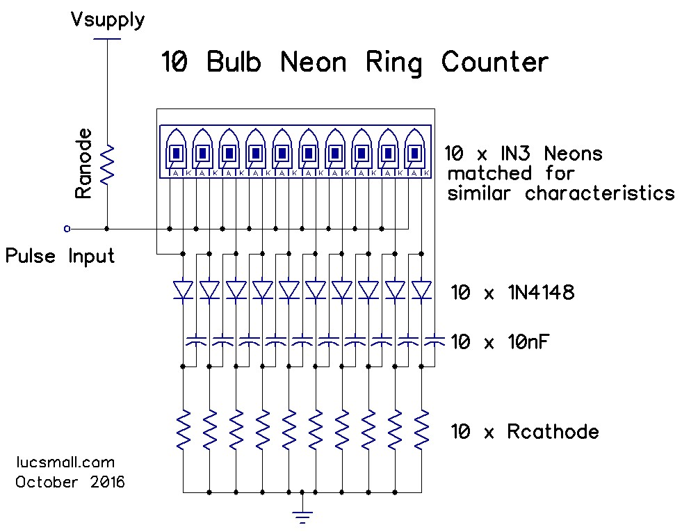 Neon ring counters lucsmall two parts of the ring counter circuit are affected by the striking and maintaining voltages of the matched neons these are the cathode resistor of which ccuart Image collections