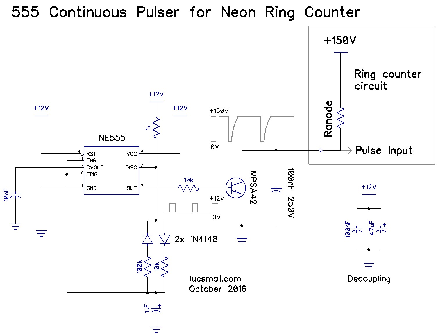 Neon Ring Counters Circuits Help Astable 555 Timer Continuous Pulsing Circuit